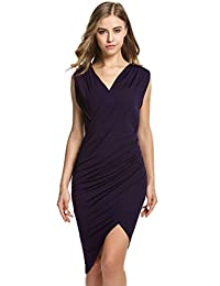 ANGVNS Women V Neck Sleeveless Cocktail Party Pleated Dress ¡
