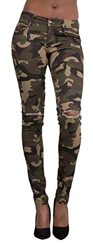 Women's High Waist Stretchy Camo Pants Slim Ripped Distressed Skinny Jeans Green