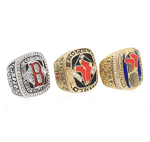Guraxi Stainless Steel Man's 2018 Year Boston World Professional Baseball League Championship Red Sox Diamond Rings Set,with Box,Size 11
