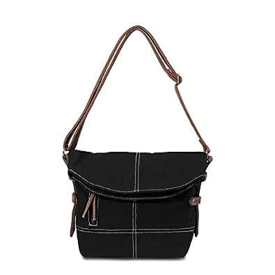MOLLYGAN Retro Mori Girl Style Canvas Pony Cross-Body Shoulder Bag(Black)