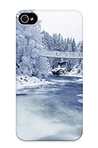 For Iphone Case, High Quality Snowy Forest River For Iphone 4/4s Cover Cases / Nice Case For Lovers