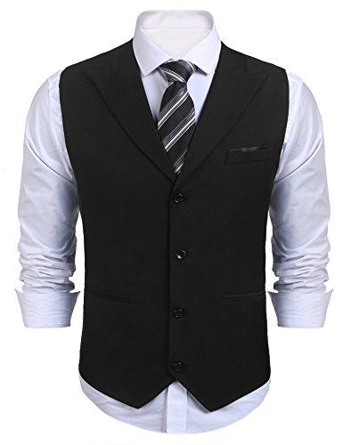 COOFANDY Mens Business Suits Vest Slim Fit V-Neck Sleeveless Wedding Waistcoat