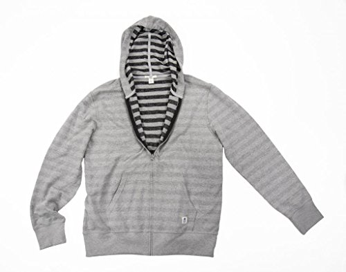 BLUEBIN Men's 100% Recycled Rugby Striped Hoodie Large Aluminum/Black (Hooded Striped Rugby)