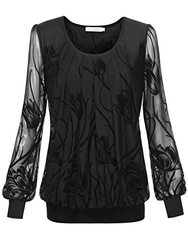 Floral Puff Sleeve Top - BaiShengGT Women's Long Sleeve Pleated Front Mesh Blouse Medium Black Floral-1