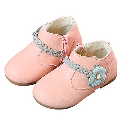 Sweet Soft Cute Boots Zip Infant Kid Newborn Boys Princess Shoes Leather Weave Anti Baby Student Crib Children Sole Bowknot Pu Pink Flower Solid Anglewolf Sneakers Girls Slip Casual OanzB1w5q