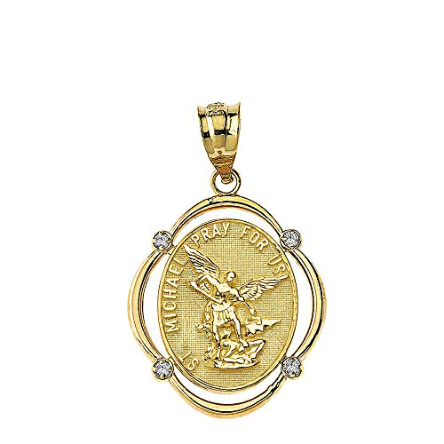 Solid 10k Gold Archangel St. Michael Pray For Us Diamond Oval Frame Pendant