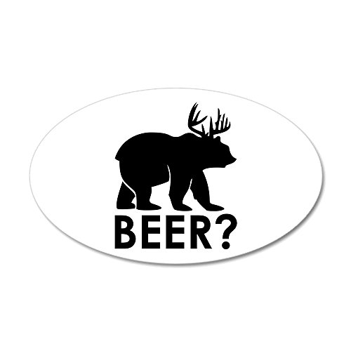 20x12 Oval Wall Vinyl Sticker Deer Plus Bear Equals BEER!