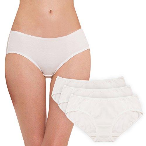 Hesta Women's Organic Cotton Basic Panties Underwear 3 Pack (Medium, (Organic Undyed Panty Liner)
