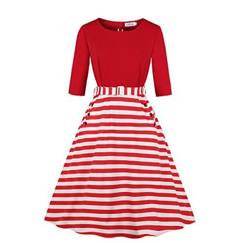 Wellwits Women's Plus Size Stripes Half Sleeve Pocket Belt Vintage Dress 5XL