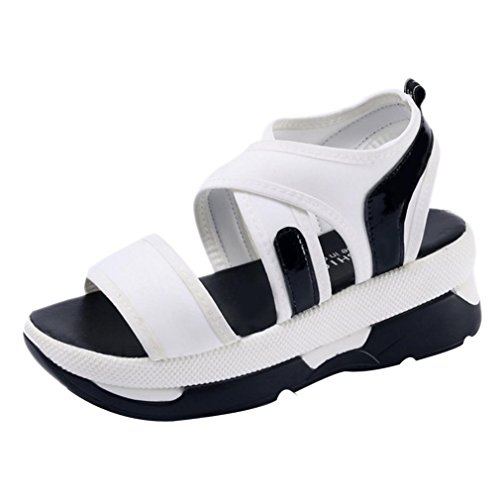 Jamicy Women Casual Breathable Sport Wedges Platform Sandals Shoes White