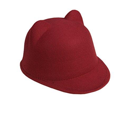 Casquette Motif Feutre Chapeau Acvip Vineux Bonnet Visière Enfant Rouge De Chat Mignon Oreille Hiver xq8tI4twg