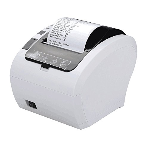 80MM USB Thermal Receipt POS Printer MUNBYN White Color with Auto Cutter USB LAN Port for Home Business Support Cash Drawer ESC/POS