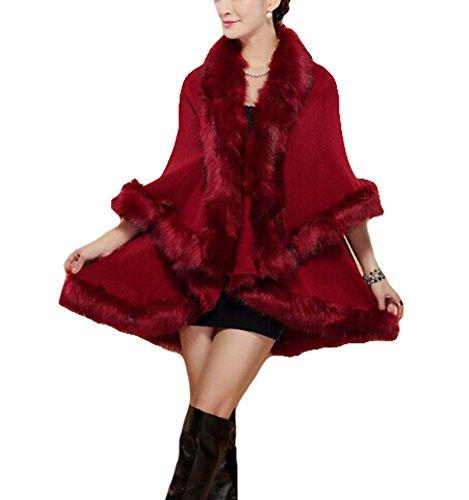 Revêtement Fur Fox Plaer Femmes Aux Cape Jacket Châle Cardigan Marron Faux xOpIH1
