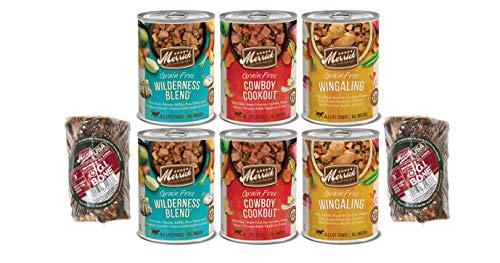 Merrick Grain Free Dog Food-Variety Bundle – 6 Wet Canned Real Deboned Meat 3 Flavors For All Breeds 1 Pet Food Lid 2…