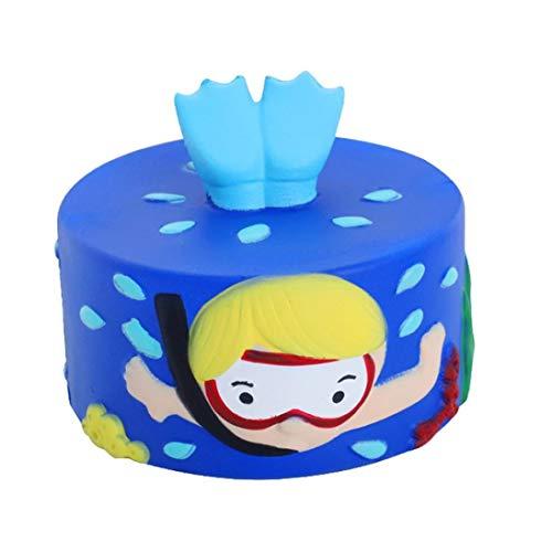 DICPOLIA Toys Relax Premium Jumbo Squishy | Kawaii Slow Rising Squishies | Super Soft Sensory/Stress Relief Toy Unicorn Galaxy Cake Diver (Blue, 9x9x9cm/3.54x3.54x3.54inch)