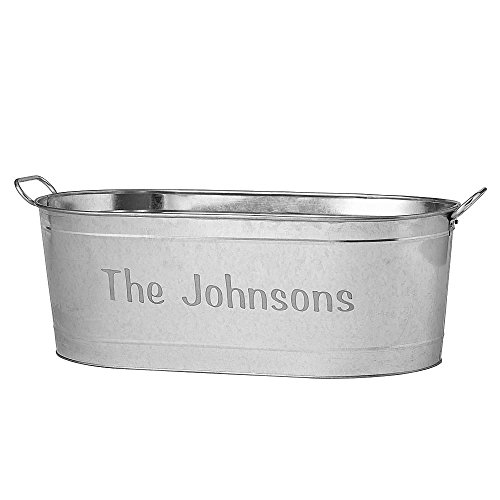 Personalized Galvanized Beverage Tub with