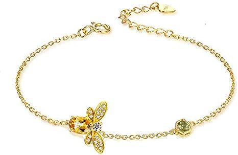 DiaTech Pulsera Lindo de la Abeja 925 de la Mujer Citrino Piedras Preciosas de Oro 14K Plateado joyería