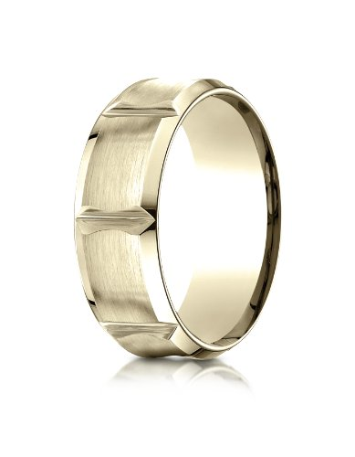 PriceRock 18k Yellow Gold 8mm Comfort-Fit Satin-Finished Beveled Edge Concave with Horizontal Cuts Carved Design Wedding Band Ring for Men & Women Size 4 to 15