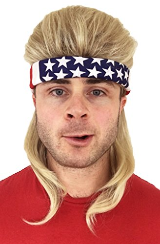 2 pc. Premium Dirty Blonde Mullet Wig (Flowtop) + USA Bandana: Redneck Halloween Costume 80s Wig Mullets for Kids Adults Hillbilly Costumes Blond Women's Men's 80's Mullet Wigs for Men Women Children -