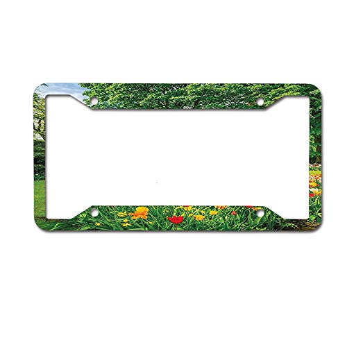 Jugbasee Garden in Keukenhof Colorful Tulip Flowers and Trees Foliage Spring in Netherlands Picture License Plate, High Gloss Aluminum Novelty Plate, Multicolor 4 Holes