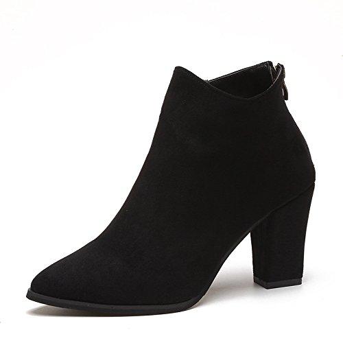 Heel Thirty Boots Black Zipper Short New six Boots Martin Sharp Female Boots Shoes Heel Sanding KHSKX qESw6Uw