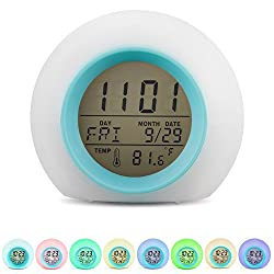 Alarm Clock Wake Up Light Digital Ninonly 6 Natural Sound Indoor Temperature Calendar Nice Gift Decor 7 Auto Switch Colors LED Night Light for Kids Bedroom Adults White