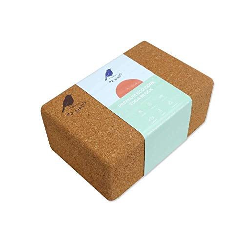 42 Birds 100% Recycled Cork Yoga Block, Sustainable, Eco-Friendly, Non-Slip, Handstand Blocks, Non-Toxic, All-Natural, Premium Cork, Self-Cleaning, Anti-Microbial, 9″ x 6″ x 4″ -1% for The Planet