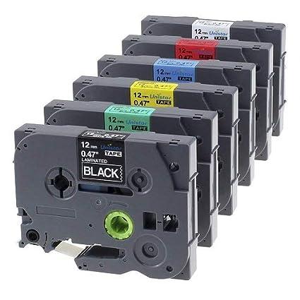 1x 12mm Etikettenband kompatibel für Brother P-touch Laminiertes Etikettenband