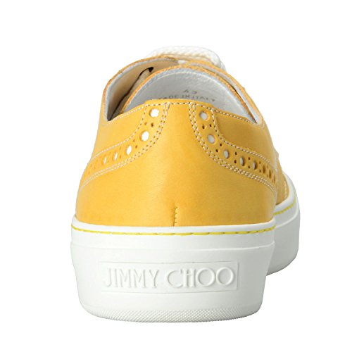 Jimmy Choo Hommes En Cuir Canari Jaune Lace Up Fashion Sneakers Chaussures De Sport Jaune Canari