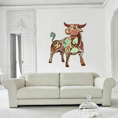 Waldenn Full Color Wall Decal Sticker Cute Taurus Bull Cow Zodiac Sign Decor Art Col582 | Model DCR - 1126