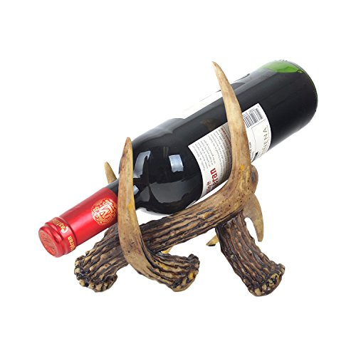 White Deer Western Cowboy Wine Bottle Holder Stand with Dead Tree Bark Dear Antler Bone ()