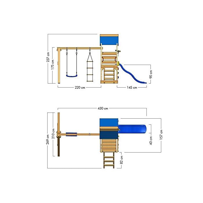 41l82fkJCNL WICKEY Torre de escalade con columpio y tobogán - Calidad y seguridad aprobada - Varias opciones de montaje Madera maciza impregnada a presión - Poste 9x4,5cm - Poste de columpio 9x9cm - Cajón de arena integrado Instrucciones de montaje detalladas - Muro para trepar - Todos los tornillos necesarios - Toldo