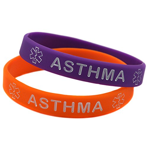 1x Medical Asthma Awarenes Alert Silicone Bracelet Wristband (Purple)