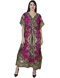 SKAVIJ Women's Tunic Viscose Kaftan Beachwear Maxi Dress (Free-Size)