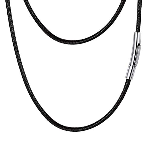 PROSTEEL Black Leather Cord Braid Rope Necklace Minimalist Chain Choker Stainless Steel Men Women Jewelry Gift Bohemian DIY Customize Cord ()