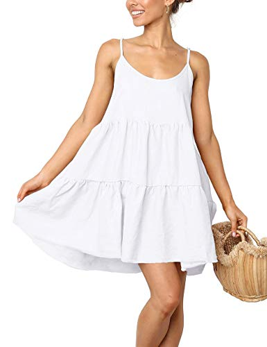 LOMON Spaghetti Strap Dresses for Women Tie Back Swing Dress Mini Summer Dress(White,XL)