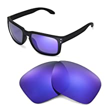 Walleva Replacement Lenses For Oakley Holbrook Sunglasses - Multiple Options Available (Purple Coated - Polarized)