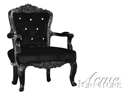 ACME Pascal Black Faux Leather Accent Chair