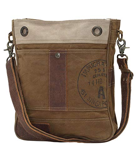 Myra Bag Stamped A Upcycled Canvas Shoulder Bag S-0717 (Canvas Bags Small Shoulder)