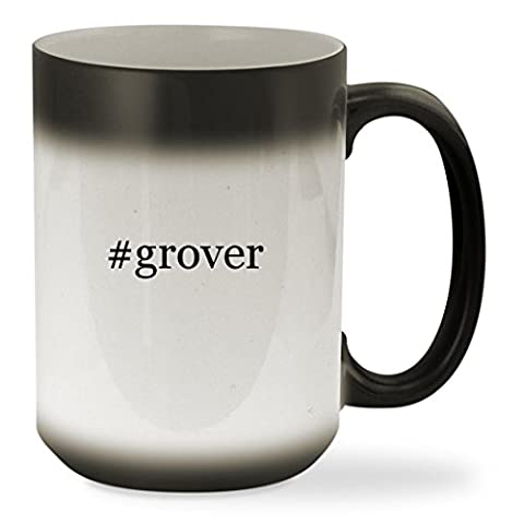 #grover - 15oz Black Hashtag Color Changing Sturdy Ceramic Coffee Cup Mug (Tag Junior Books Thomas)