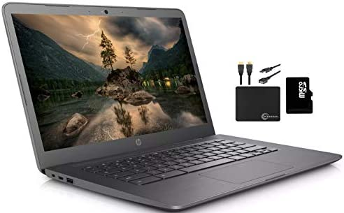 "2020 HP Premium Chromebook 14"" HD Laptop Business & Student, Intel Celeron N3350,as much as 2.4GHz,4GB RAM,32GB eMMC + 64GB SD Card,HD Webcam Bluetooth WiFi Chrome OS,11+ Hour Battery,w/MarXsol Accessories"
