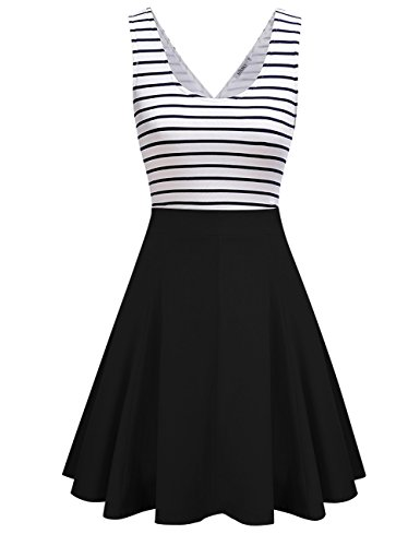 Casual Spring Summer Dress (MISSKY Women Open Back Sleeveless Sexy Hollow Out Slim Fit Black White Stripe Casual Cocktail Cute Mini Swing Dress Black L)