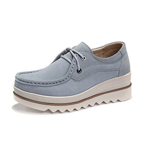 omen Low Top Suede Wedge Fashion Sneakers Moc Toe Lace Up Platform Oxford Shoes Grey 5.5 B(M) US ()