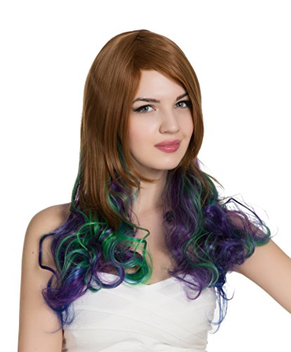 PINKISS Fashion Colorful Harajuku Lotita Style Cosplay Wig with Free Wig Cap (LC5061 DS / STFP20TT3952 Chestnut Purple Blue Green -