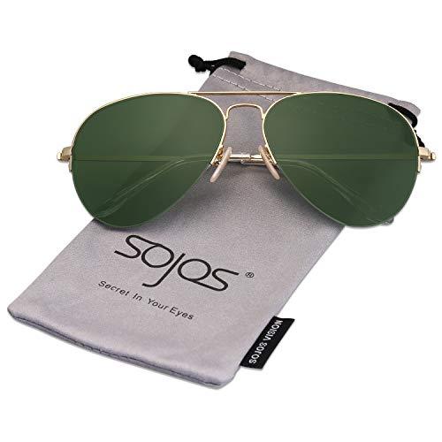 SOJOS Classic Aviator Mens Womens Sunglasses Metal Half Rim Mirrored Lens INSPIRATION SJ1106 with Gold Frame/G15 ()