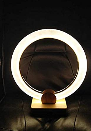 Aeroway Modern Ring To Super Base Type Bright Natural Wooden Desk Nightstand Lamp Led LampBedroom Circle LightDimmable Night Table With Reading kXiuOZP