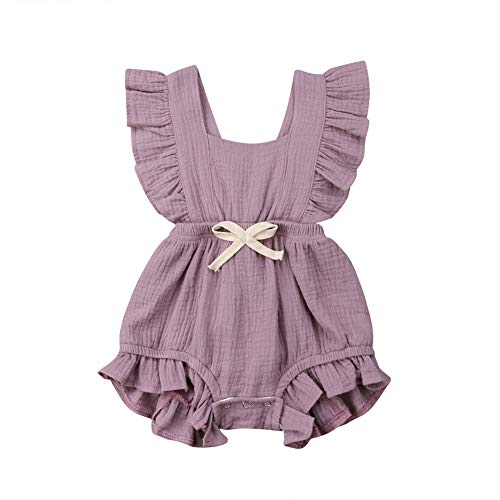Weixinbuy Toddler Baby Girl's Sleeveless Ruffled Collar Romper Overall Jumpsuit Clothes Purple