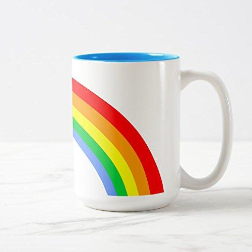 Zazzle Corey Tiger 80s Vintage Rainbow Coffee Mug, Light Blue Two-Tone Mug 15 oz Corey Tiger
