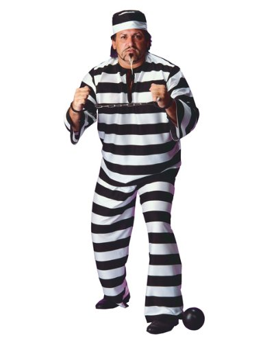 Haloween Costume Ideas Men (Convict Man Plus Size Adult Costume - Plus)
