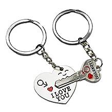 DPIST Couple Keychain Keyring --- I Love You Heart + Key --- Lover Sweetheart Gift for Valentine's Day / Wedding Anniversary / Birthday